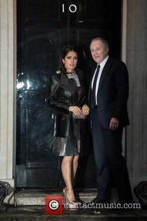 Francois-Henri Pinault , Salma Hayek - LFW s/s 2016: Downing Street Reception held at 10 Downing Street - Arrivals. -...
