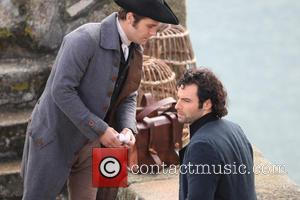Aidan Turner - Aidan Turner who plays Poldark in the BBC drama films a scene where he has been fighting...
