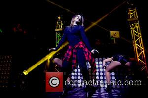Becky G - Becky G performs live on stage during J Balvin Mi Familia' tour at James L Knight Center...