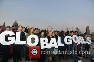 Bianca Jagger , Mariella Frostrup - Mariella Frostrup and Bianca Jagger join a Global Goals Action protest on the millennium...