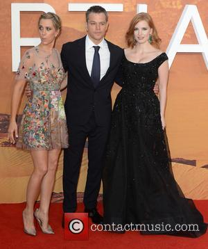 Matt Damon, Kristen Wiig , Jessica Chastain - The UK premiere of 'The Martian' at Odeon Leicester Square - Arrivals...