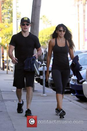 Matt Damon , Luciana Barroso - Matt Damon and wife seen leaving Rise Movement Gym - Los Angeles, California, United...