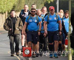 Prince Harry - Prince Harry joins the Walking with the Wounded walk of Britain in Church Stretton, Shropshire at Shropshire...