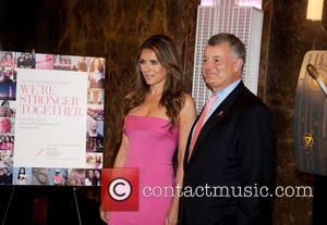 Elizabeth Hurley , William Lauder - Elizabeth Hurley lights the Empire State Building Pink to kick off the 2015 Estee'...