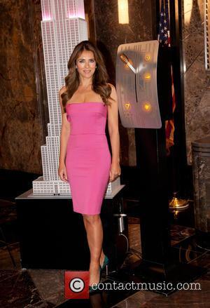 Elizabeth Hurley - Elizabeth Hurley lights the Empire State Building Pink to kick off the 2015 Estee' Lauder Breast Cancer...