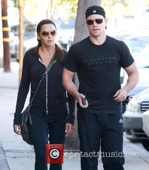 Matt Damon , Luciana Barroso - Matt Damon and his wife Luciana leaving the gym in West Hollywood - West...