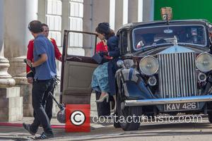 Claire Foy - Matt Smith and Claire Foy filming scenes for their upcoming drama 'The Crown' in East London -...