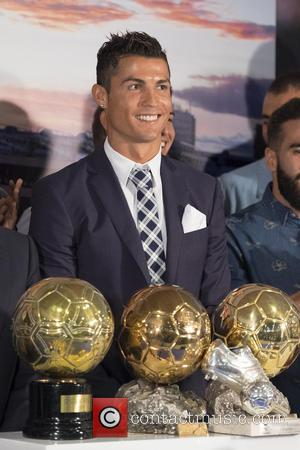 Cristiano Ronaldo - Cristiano Ronaldo attends a ceremony for becoming Real Madrid's all-time leading scorer at the Santiago Bernabeu stadium...