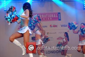 Atmosphere - The Miami Dolphins Cheerleaders perform at the NFL fan rally in Trafalgar Square at Trafalgar Square - London,...