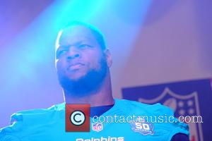 ‎Ndamukong Suh - NFL fan rally in Trafalgar Square prior to a London game between the New York Jets and...
