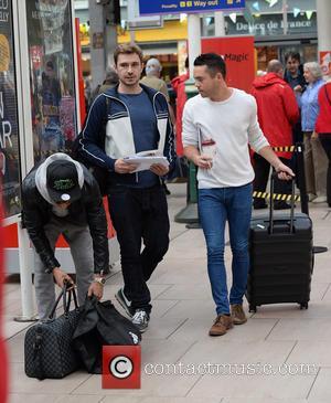 Bruno Langley, Qasim Akhtar , Oliver Farnworth - Celebrities arrive at Manchester Piccadilly Train Station Manchester - Manchester, United Kingdom...