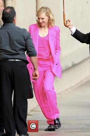 Cate Blanchett - Australian actress Cate Blanchett arrives at the 'Jimmy Kimmel Live!' studios in a hot pink suit -...