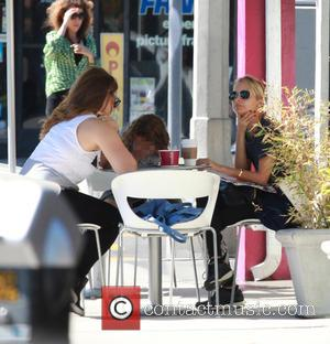 Nicole Richie , Harlow Madden - Nicole Richie helps her daughter Harlow Madden with a homework assignment at Menchie's Frozen...