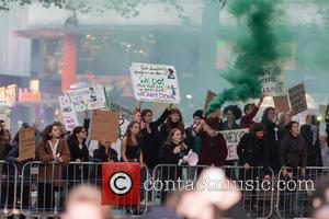 View - Modern Suffragettes cause disturbances at the BFI London Film Festival Opening Night Premiere of 'Suffragette' held at the...