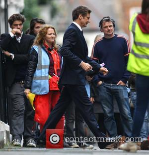 Colin Firth - Filming on the set for the upcoming movie 'Bridget Jones's Baby' - London, United Kingdom - Thursday...