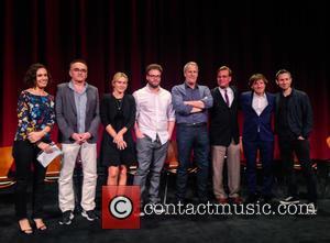 Moderator, Danny Boyle, Kate Winslet, Seth Rogen, Jeff Daniels, Aaron Sorkin, Daniel Pemberton and Elliot Graham