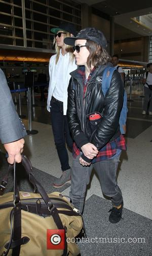 Ellen Page , Samantha Thomas - Ellen Page and her girlfriend Samantha Thomas depart from Los Angeles International Airport (LAX)...