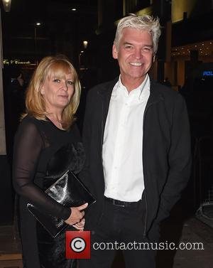 Phillip Schofield , Stephanie Schofield - Guests arrive at Ant and Dec's 40th Birthday Party held at Kensington Roof Gardens...