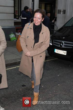Olivia Colman - Olivia Colman arriving at the BBCRadio 2 studios to promote the new film 'The Lobster' at BBC...