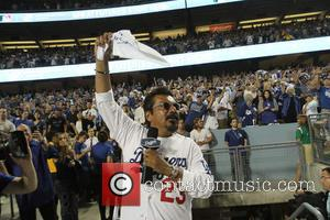 George Lopez - Celebrities watch Game 5 of the National League Division Series. The New Your Mets defeated the Los...