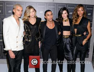 Gigi Hadid, Olivier Rousteing, Kendall Jenner and Jourdan Dunn