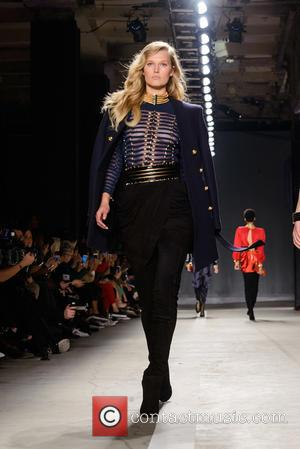 Toni Garrn - The BALMAIN X H&M Collection Launch at 23 Wall Street - Runway and Arrivals - New York,...