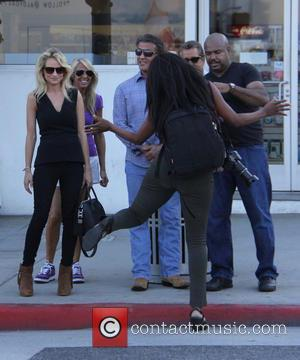 Sylvester Stallone - Sylvester Stallone gets a private dance from a fan as he leaves a restaurant after a lunch...