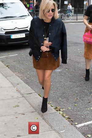Caroline Flack - Caroline Flack pictured arriving at the Radio 2 studio at BBC Western House - London, United Kingdom...