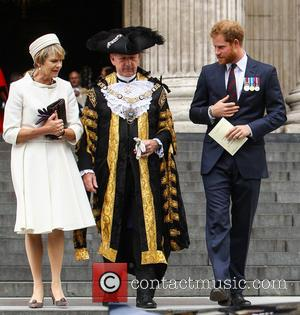 Prince Harry , Lord Mayor Alan Yarrow - Prince Harry attends a service to commemorate the 75th anniversary of the...