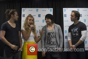 Reid Perry, Kimberly Perry , Neil Perry - The Band Perry attend a press conference at We Day 2015 in...