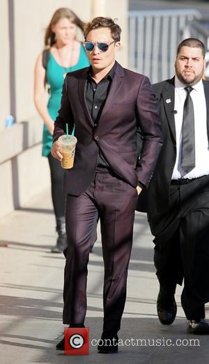 Ed Westwick - Ed Westwick arrives at the Jimmy Kimmel Live! studios wearing a sharp suit and sipping a Starbucks...