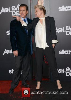 Bruce Campbell, left , Lucy Lawless - STARZ presents the Los Angeles premiere of 'Ash Vs Evil Dead' - Arrivals...