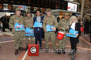 Ollie Locke , Jess Woodley - Members of the Made in Chelsea cast serve Poppy cupcakes to hardworking uniformed collectors...