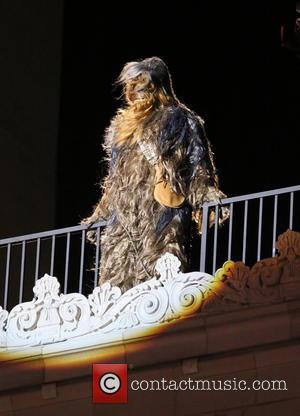 Chewbacca - Harrison Ford filming a skit with Chewbacca on Jimmy Kimmel Live! - Los Angeles, California, United States -...