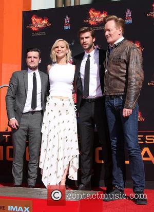 Josh Hutcherson, Jennifer Lawrence, Liam Hemsworth and Conan O'brien