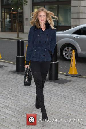 Rosie Huntington-Whiteley - Rosie Huntington-Whiteley pictured arriving at the Radio 1 studios at BBC Portland Place - London, United Kingdom...