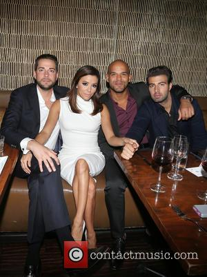 Zachary Levi, Eva Longoria, Amaury Nolasco , Jencarlos Canela - The Eva Longoria Foundation Annual Dinner_Inside at Beso - Hollywood,...