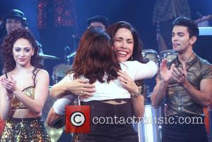 Gloria Estefan , Andrea Burns - Opening night of On Your Feet at the Marquis Theatre - Curtain Call. at...