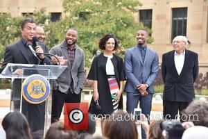 Sylvester Stallone, Mayor Michael Nutter, Ryan Coogler, Tessa Thompson, Michael B. Jordan and Irwin Winkler