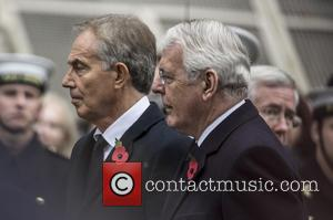 Tony Blair , John Major - Member of the Royal family attends a service at the cenotaph for Remembrance Sunday...