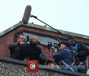 Matt Damon - Matt Damon films a scene on a London rooftop for the latest movie in the Bourne franchise...
