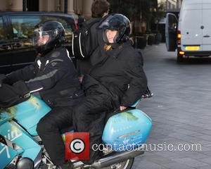 Kate Garraway - Celebrities at Capital Radio - Kate Garraway on a motorcycle at Global House, Leicester Square - London,...