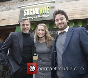 George Clooney - George Clooney visit's Social Bite sandwich shop in Edinburgh where he met owner Josh Littlejohn and formerly...