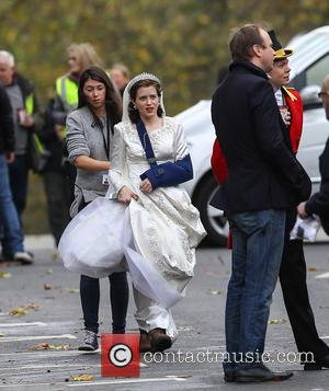 Claire Foy - Claire Foy arrives on the set of the Netflix series 'The Crown' to film a scene with...