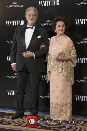 Placido Domingo , Marta Ornelas - Vanity Fair magazine Man of the Year awards - Arrivals - Madrid, Spain -...