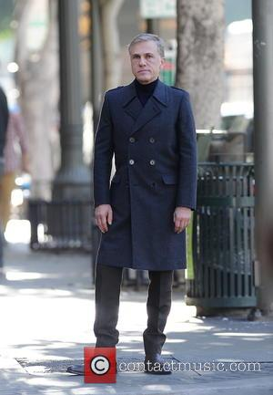 Christoph Waltz - German Christoph Waltz puts on a serious face as he films a super bowl commercial for the...