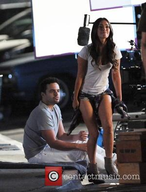 Megan Fox , Jake Johnson - Megan Fox leans in for a kiss with co-star Jake Johnson whilst filming a...