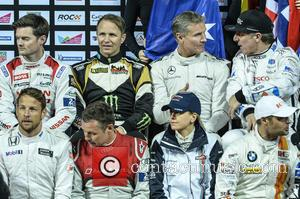 Jenson Button, Tom Kristensen, Susie Wolff, Jason Plato, David Coulthard and Peter Solberg