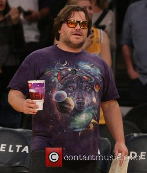 Jack Black - Celebrities watch the LA Lakers play The Toronto Raptors at the Staples Center at Staples Center -...