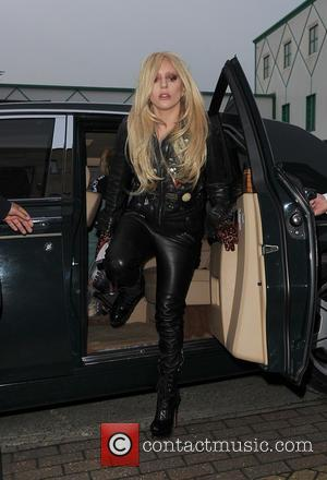 Lady Gaga - Lady Gaga arrives at a recording studio in North London, wearing an all leather outfit - London,...